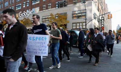 Photo of Google employees walking off the job in protest