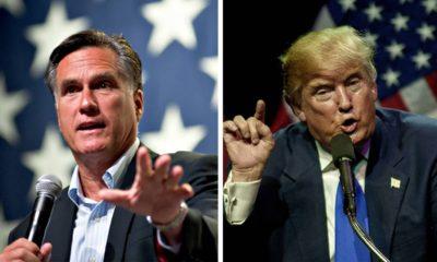 Photo combination of Mitt Romney and President Donald Trump