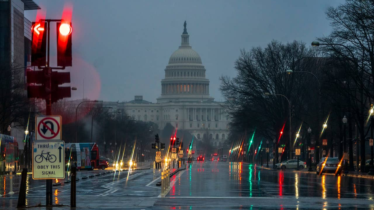 Photo of The Capitol seen on a rainy morning