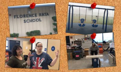 Illustration that depicts pictures of Rata High School on a classroom bulletin board