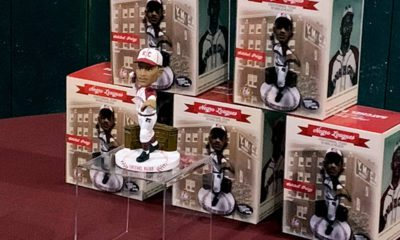 Photo of bobbleheads of former Negro League pitcher Satchel Paige of the Kansas City Monarchs