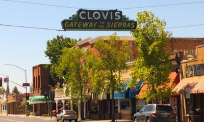 Photo of downtown Clovis, California with its Welcome Sign