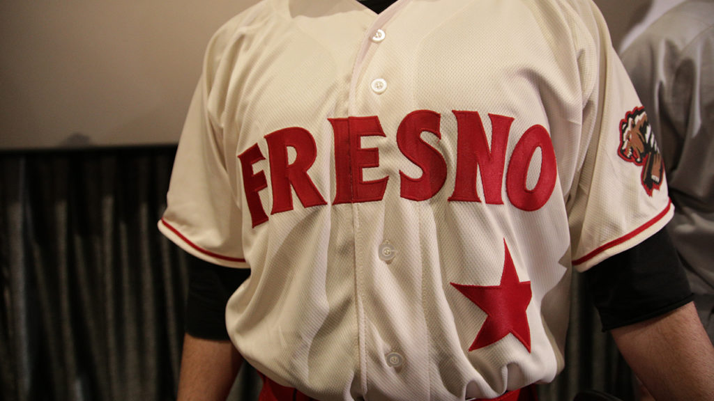 The cream colored home jersey for the 2019 Fresno Grizzlies  at the Mayan Theater on Jan. 29, 2019 (GV Wire Photo/Jahz Tello)