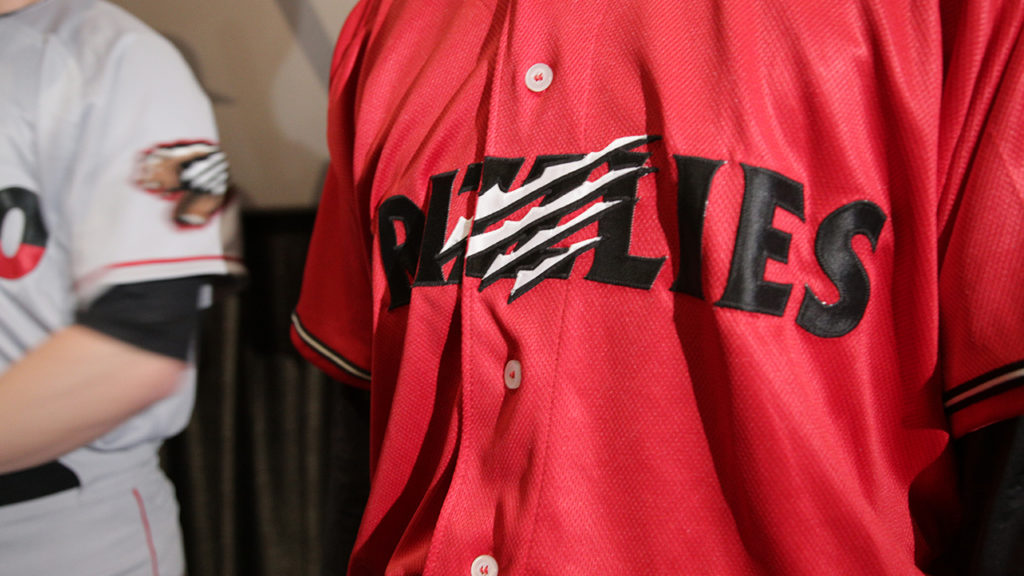 The red alternate 2019 Fresno Grizzlies jersey at the Mayan Theater on Jan. 29, 2019 (GV Wire Photo/Jahz Tello)