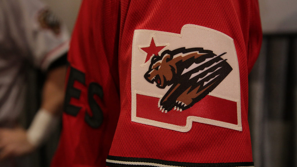 The red sleeve alternate 2019 Fresno Grizzlies jersey at the Mayan Theater on Jan. 29, 2019 (GV Wire Photo/Jahz Tello)