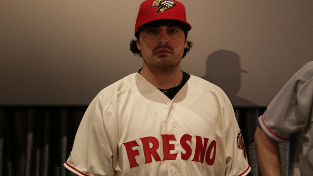 The white home 2019 Fresno Grizzlies jersey at the Mayan Theater on Jan. 29, 2019 (GV Wire Photo/Jahz Tello)