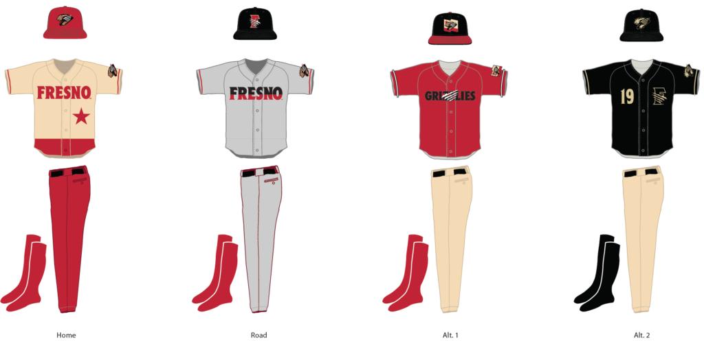 The 2019 Fresno Grizzlies uniforms.