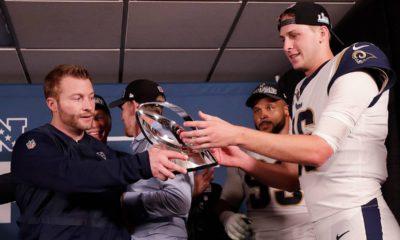 Photo of Los Angeles Rams head coach Sean McVay and Los Angeles Rams quarterback Jared Goff