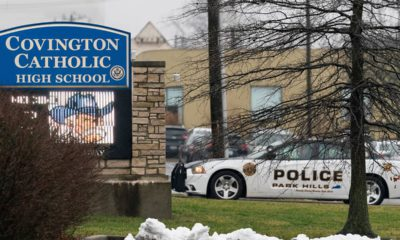 Photo of the entrance to Covington Catholic High School in Park Hills, Ky.