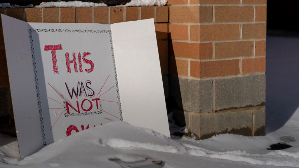 Photo of sign outside Covington Catholic High School in Covington, Kentucky
