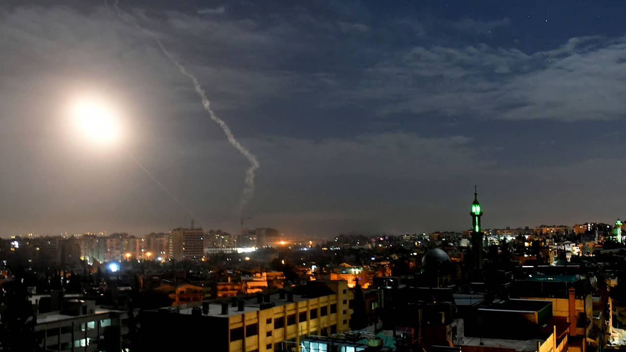 Photo of missiles flying into the sky near Damascus, Syria