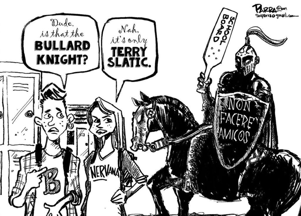 Editorial cartoon by S. Parra