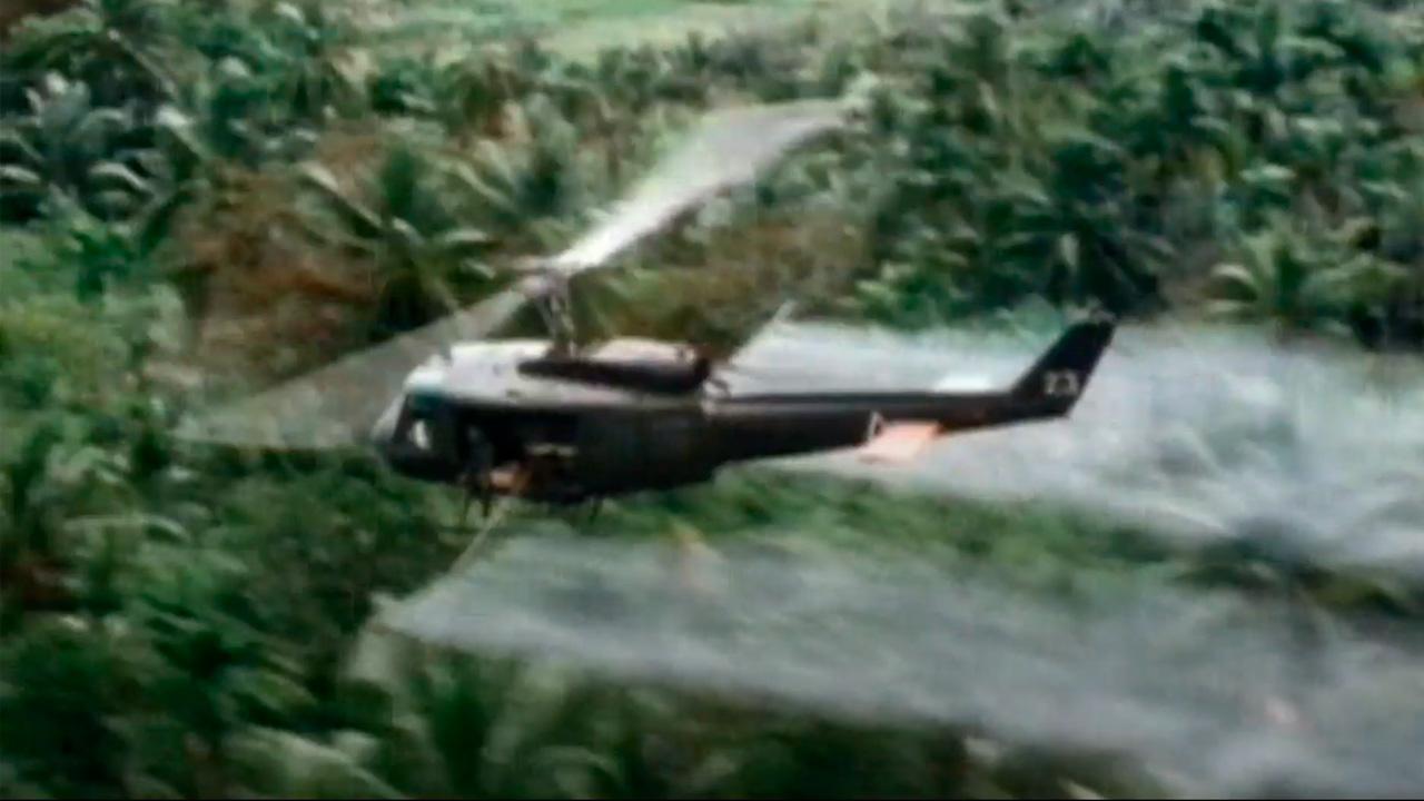 Screen image of Agent Orange spraying in Vietnam