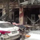 Screen image of scene in Syria following a deadly explosion outside a restaurant