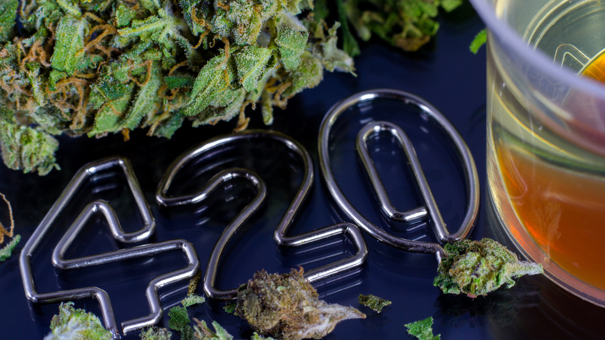 Image of marijuana bud, cannabis oil and the numbers 420