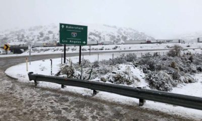 Photo of snow on the Grapevine highway in California