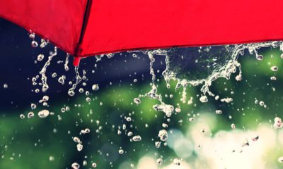 Photo of red umbrella and rain