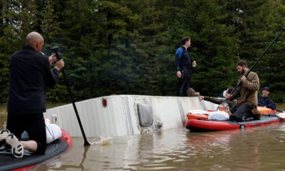 Photo of a submerged RV in the flood waters of the Russian River