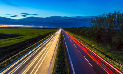 Time lapse photo of German autobahn at sunset