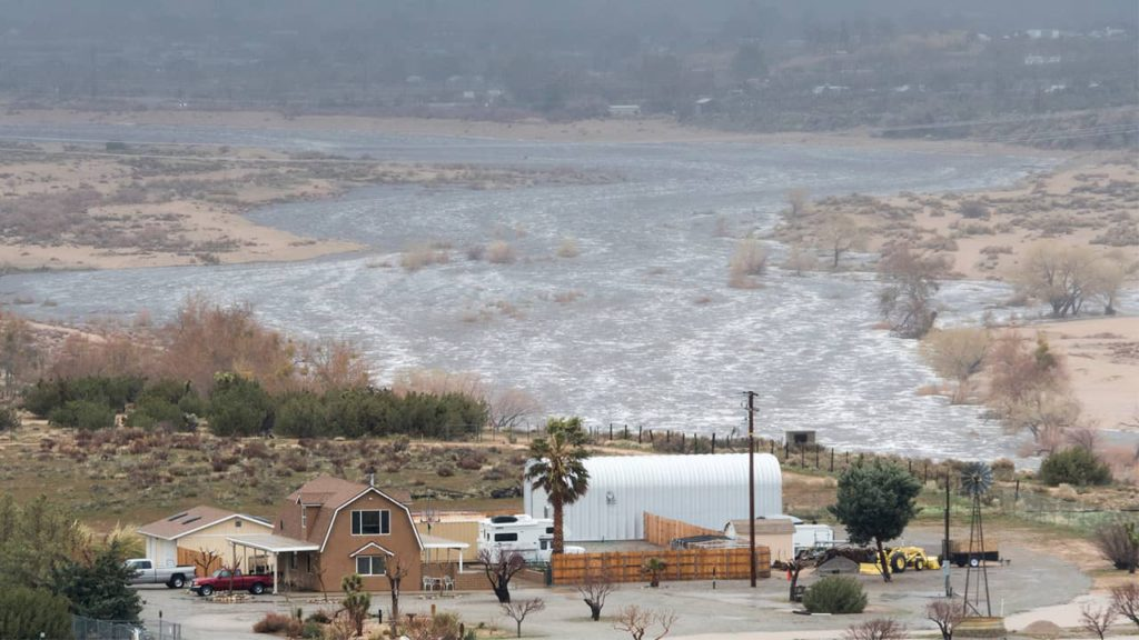 Photo of Mojave River flooding in southern California