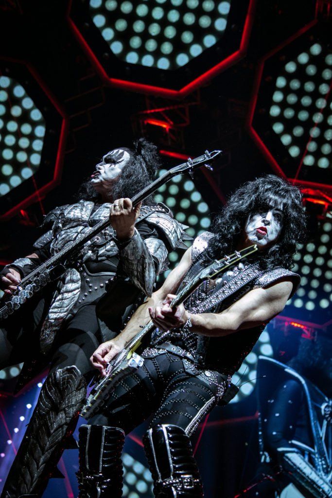 Gene Simmons (left) and Paul Stanley (right) of KISS perform at the Save Mart Center in Fresno on Feb. 8, 2019 (GV Wire Photo/Jamie Ouverson)