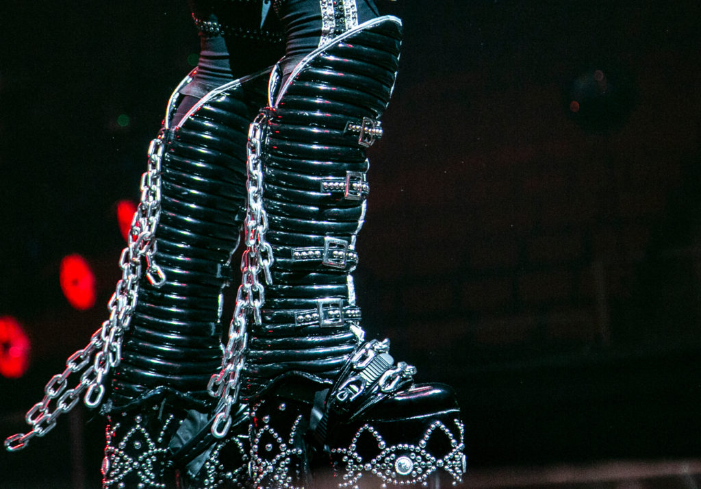 The boots of KISS's Paul Stanley perform at the Save Mart Center in Fresno on Feb. 8, 2019 (GV Wire Photo/Jamie Ouverson)