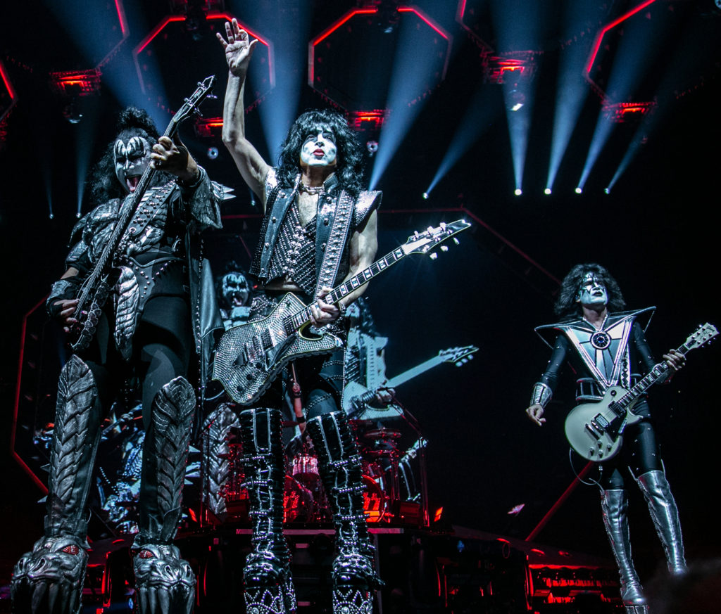 From left to right: Gene Simmons, Paul Stanley and Tommy Thayer of KISS perform at the Save Mart Center in Fresno on Feb. 8, 2019 (GV Wire Photo/Jamie Ouverson)