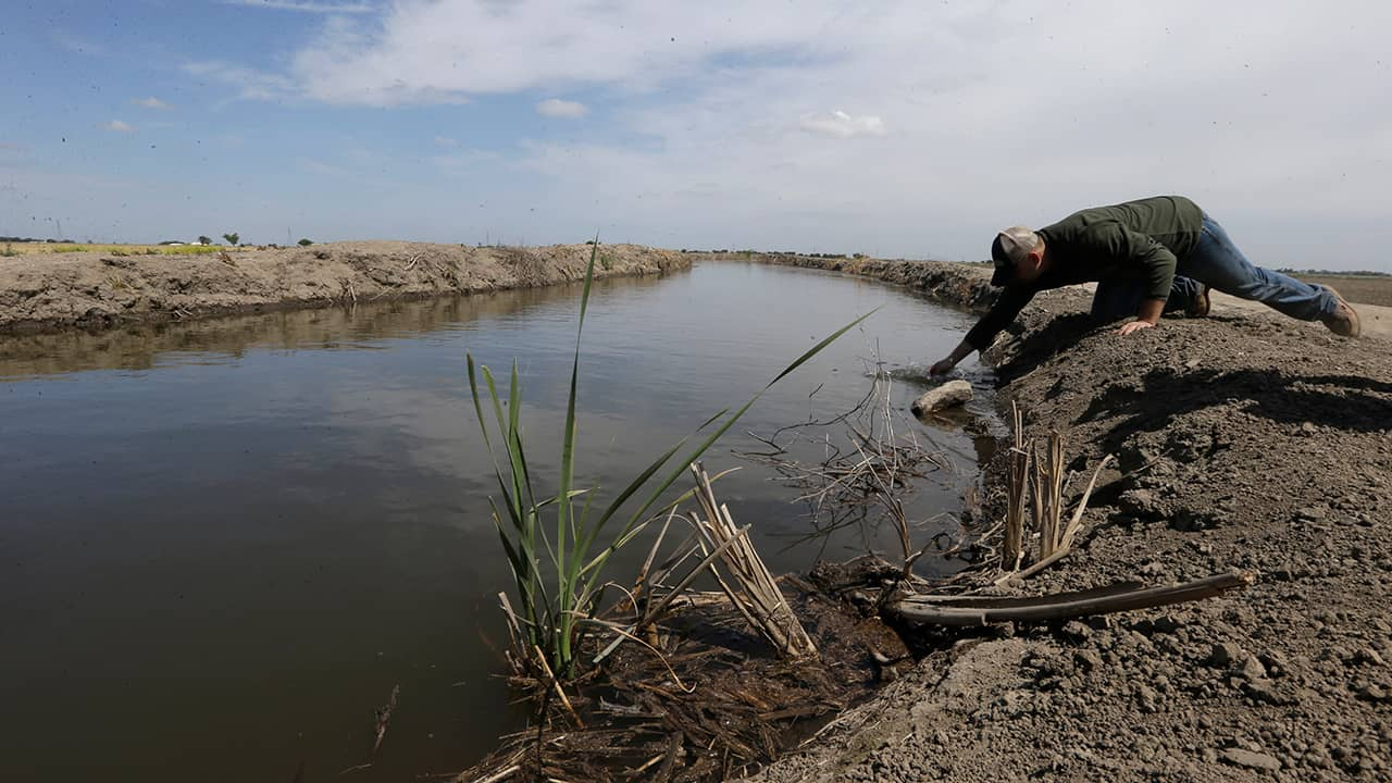 Photo of man drawing a water sample in Stockton, CA