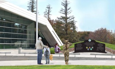 Rendering of the Fresno Veterans Memorial to be installed at City Hall.