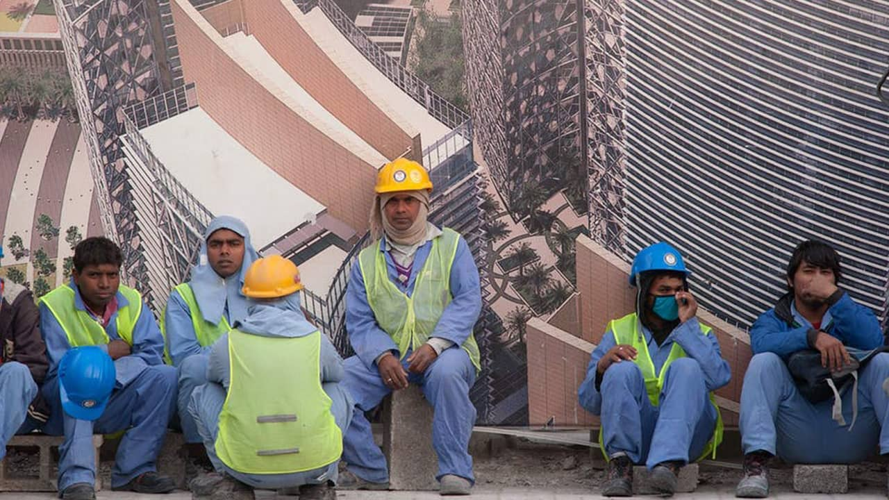 Photo of immigrant workers in Qatar