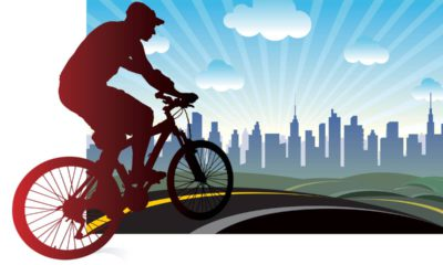 Illustration of a cyclist headed to downtown