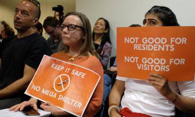 Photo of women opposing proposed homeless shelter
