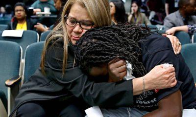 Photo of Elizabeth Medrano Escobedo, left, mother of Christian Escobedo, who was killed by Los Angeles police