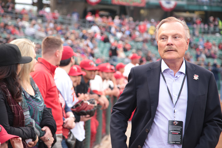 Grizzlies owner Jim Coufos at Opening Night at Chukchansi Park in Fresno on April 4, 2019 (GV Wire/Jahz Tello)