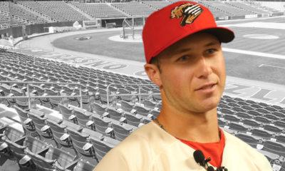 Composite of Carter Kieboom and baseball stadium