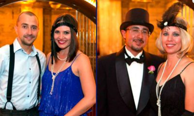 Photo of party-goers dressed in Gatsby era clothing