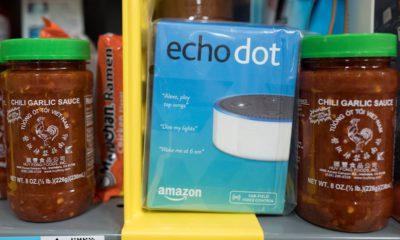 Photo of Amazon Echo Dot in an Amazon warehouse