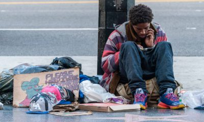 Photo of homeless man on Sunset Blvd. in Los Angeles