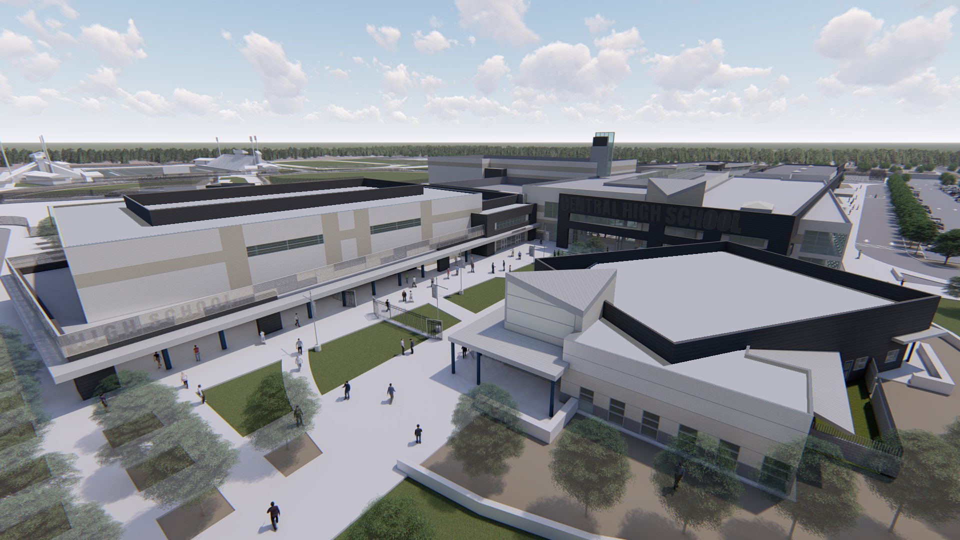 Aerial perspective of new Central Unified high school