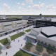 Architectural rendering providing an aerial perspective of Central Unified's new high school