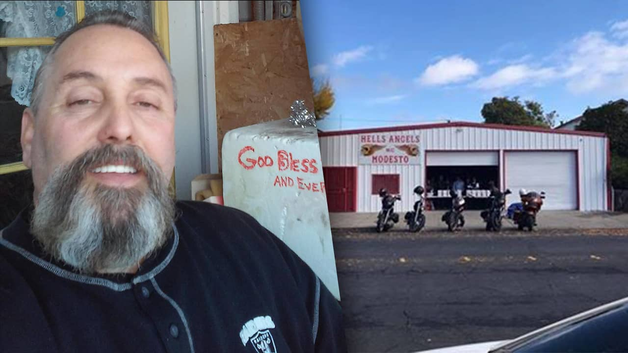 Composite of Modesto Hells Angels president Randy Picchi and the Modesto Hells Angels clubhouseu