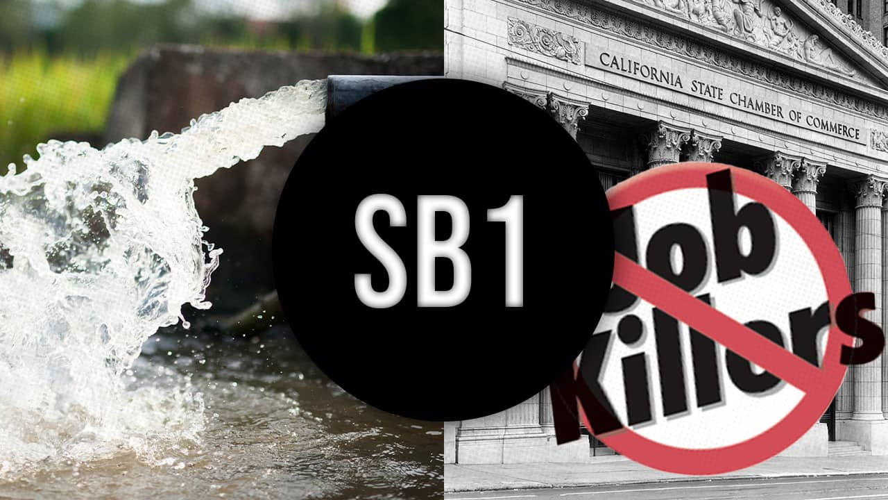 Composite photo of water coming out of an irrigation pipe, SB 1, and job killer logot