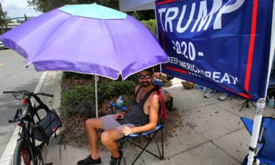 Photo of Ray Renaud, a Trump supporter, camping out for Trump's 2020 campaign kick-off rally