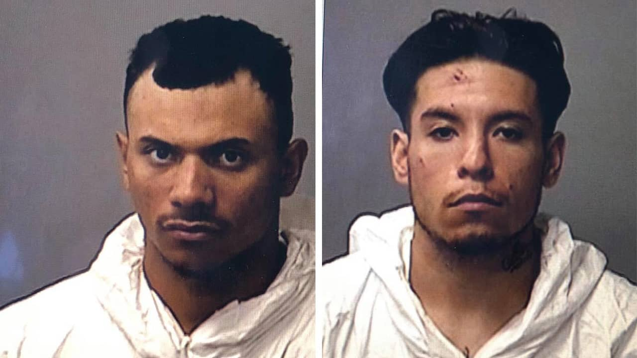 mug shots of two men arrested after their stolen car killed two pedestrians