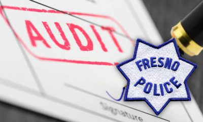 Composite illustration of audit papers and Fresno Police badge