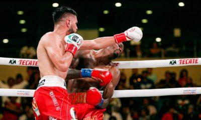 Photo of Jose Ramirez's bout-deciding left hook against Maurice Hooker