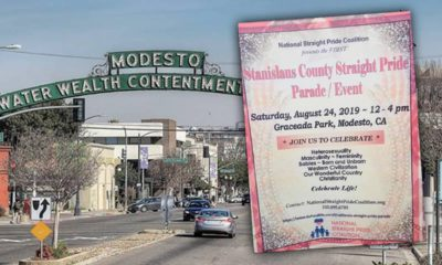 Composite of downtown Modesto and Straight Pride rally flyer