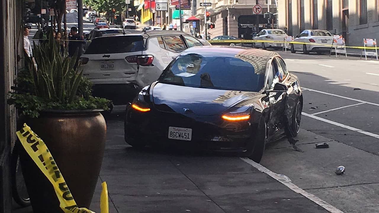 Photo of a rented Tesla involved in a fatal crash in San Francisco