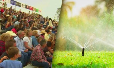 Composite of a large gathering of Clovis residents and a lawn sprinkler illustrating water for future growth