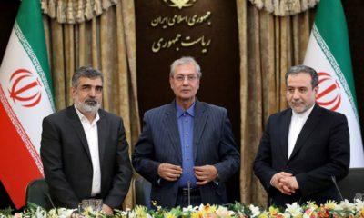 Photo of Behrouz Kamalvandi, Ali Rabiei, and Abbas Araghchi during a press briefing in Tehran, Iran